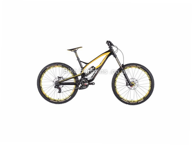 "Nukeproof Pulse Team Downhill 27.5"" Alloy Full Suspension Mountain Bike 2017 27.5"", 15"", Black, Yellow, 7 Speed, Alloy, 200mm"