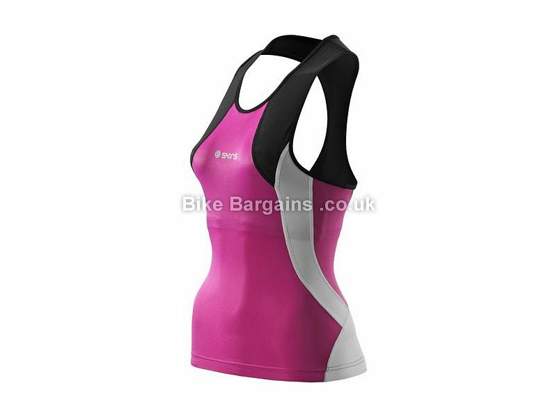 Skins Ladies TRI400 Racer Back Triathlon Top XS, S, L, Black, Pink