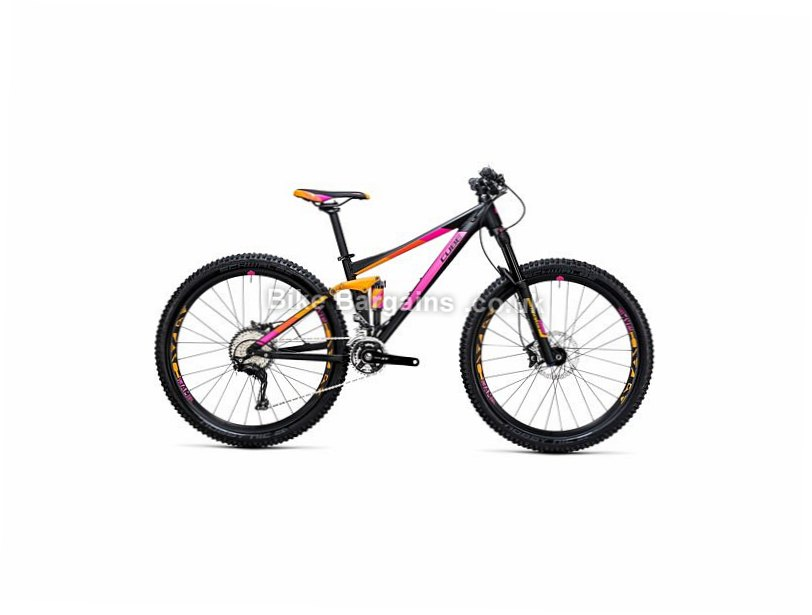 "Cube Sting WLS 120 Pro Alloy Full Suspension Mountain Bike 2017 14"", 27.5"", Black, Orange, 30 Speed, Alloy, 120mm,"