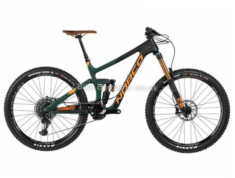"Norco Range C7.1 Carbon X01 Full Suspension Mountain Bike 2017 L, Black, Green, 27.5"", 14.11kg"
