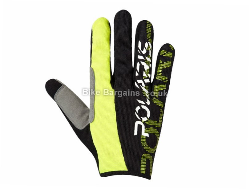 Polaris Am Defy MTB Full Finger Gloves 2017 M, Black, Blue, Green, Full Finger, Rubber, Synthetic Leather