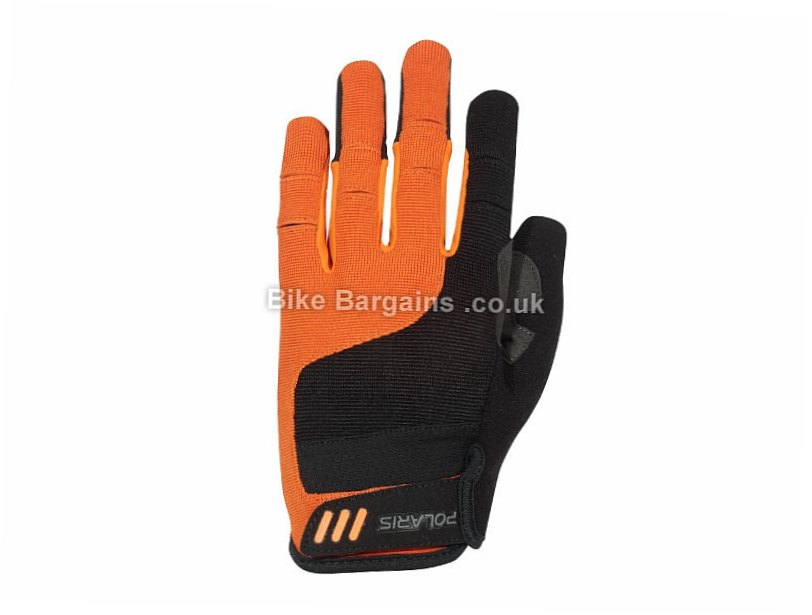 Polaris Limit Mountain Biking Full Finger Gloves 2016 S, Black, Orange, Full Finger