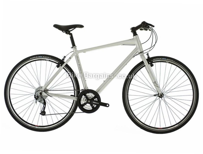 "Raleigh Strada 3 Altus Alloy Hybrid City Bike 2017 14"", Silver"
