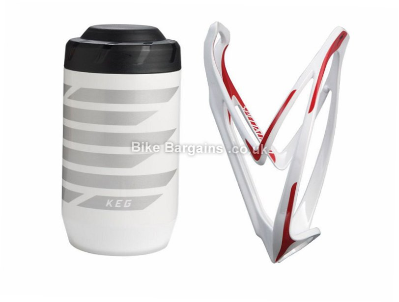 Specialized Keg Tool Storage Vessel Rib Waterbottle Cage Bundle White, Red, 16oz, 63mm
