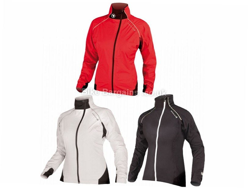 Endura Helium Ladies Waterproof Jacket L, Red, White, Women's, Long Sleeve