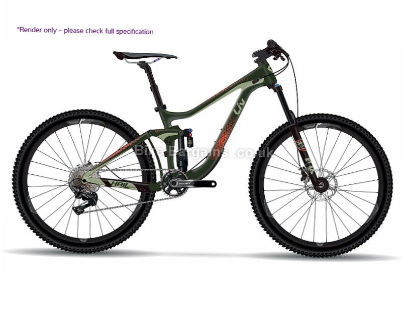 "Giant Liv Hail Advanced 1 Ladies 27.5"" Carbon Full Suspension Mountain Bike 2017 M, Green, 27.5"""