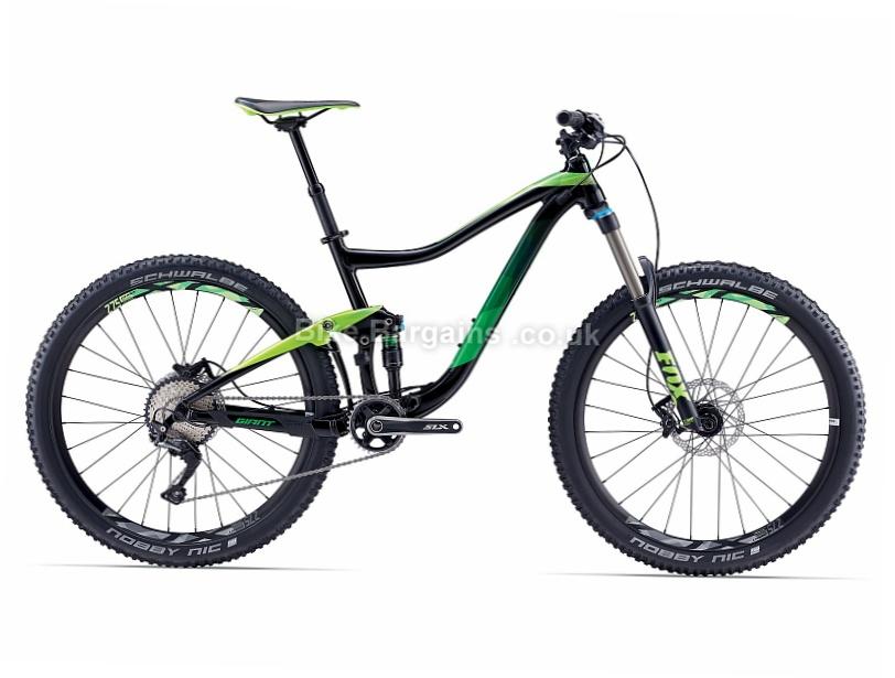 "Giant Trance 2 27.5"" Alloy Full Suspension Mountain Bike 2017 S, Black, Green, 27.5"""