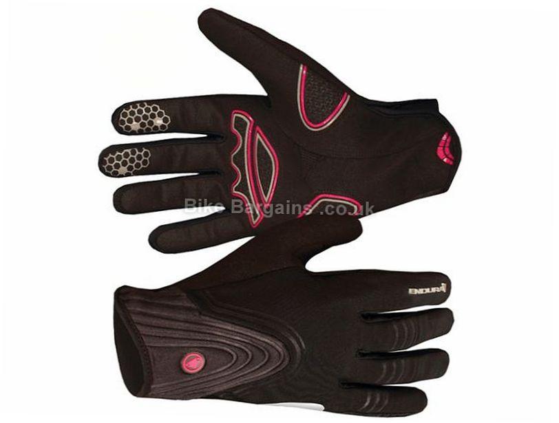 Endura Ladies Windchill Gel Full Finger Gloves 2017 S,L, Black, Blue, Full Finger, Gel, Polyester