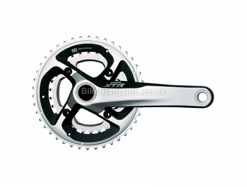 Shimano XTR M985 10 Speed Double MTB Chainset 175mm, Silver, Alloy, 10 speed, Double Chainring, MTB, 720g