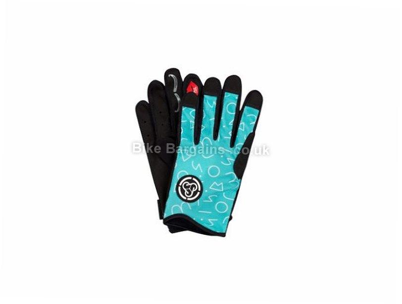 Sombrio Ladies OSO MTB Full Finger Gloves 2017 XS,M,L,XL, Turquoise, Yellow, Full Finger, Kevlar, Velcro