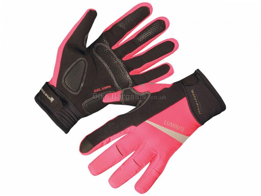 Endura Ladies Luminite Full Finger Gloves L, Black, Pink, Full Finger, Fleece, Neoprene, Nylon, Polyester, Velcro