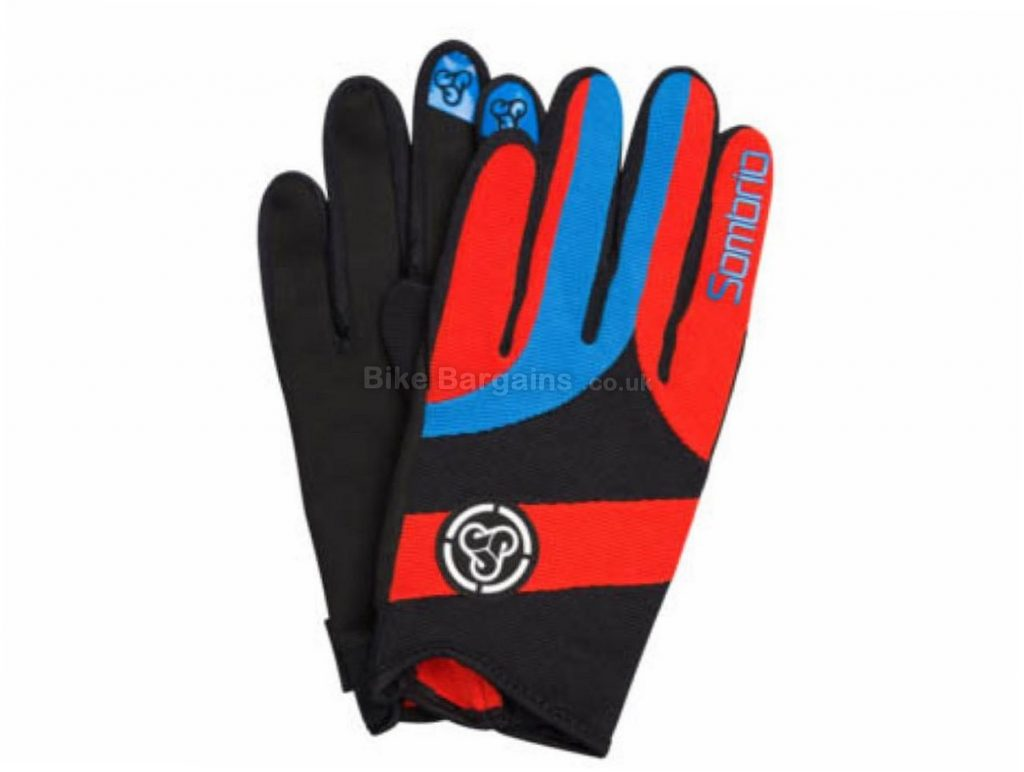 Sombrio MTB Prodigy Full Finger Gloves 2017 XS,S,XL,XXL, Red, Yellow, Full Finger, Kevlar, Nylon