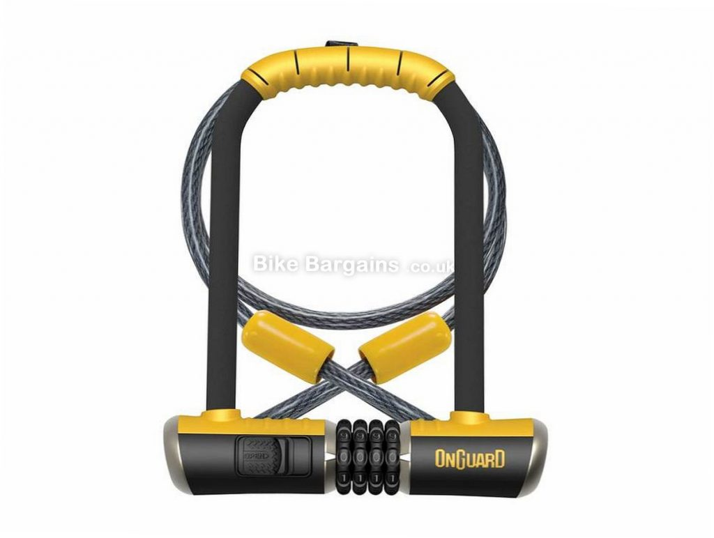 OnGuard Bulldog 230mm Combination D Lock with Cable Black, Yellow, Lock: 115mm, 230mm, 13mm, Cable: 120cm, 10mm, 65/100 rating