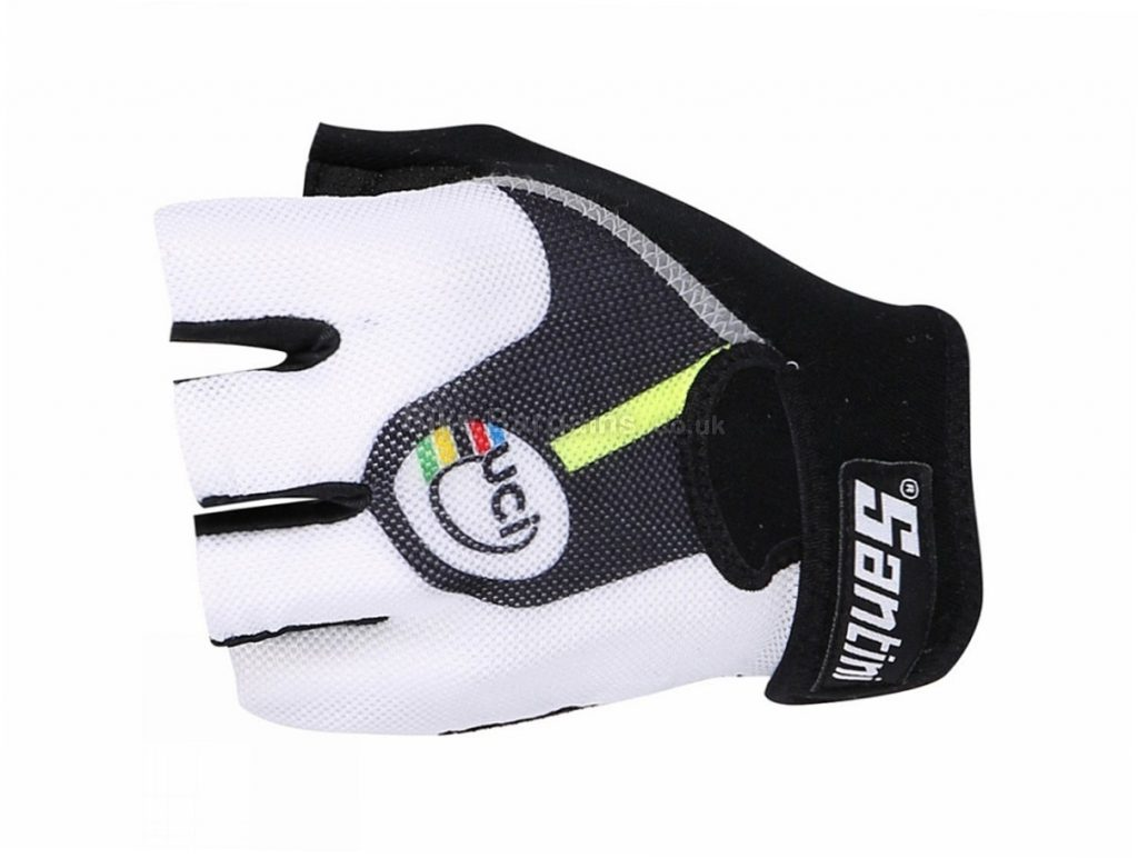Santini Ladies UCI Rainbow Gel Race Mitts M,L, Black, White, Mitts, Velcro