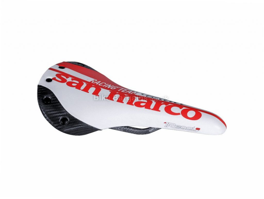Selle San Marco Regale Carbon FX Road Saddle 145g, Red, White, Carbon Rails, Mens, 178mm
