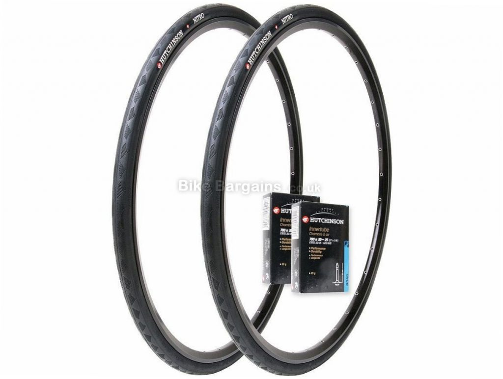 Hutchinson 2 Nitro Pair Road Tyres and Tubes Black, 25c, 700c, 380g