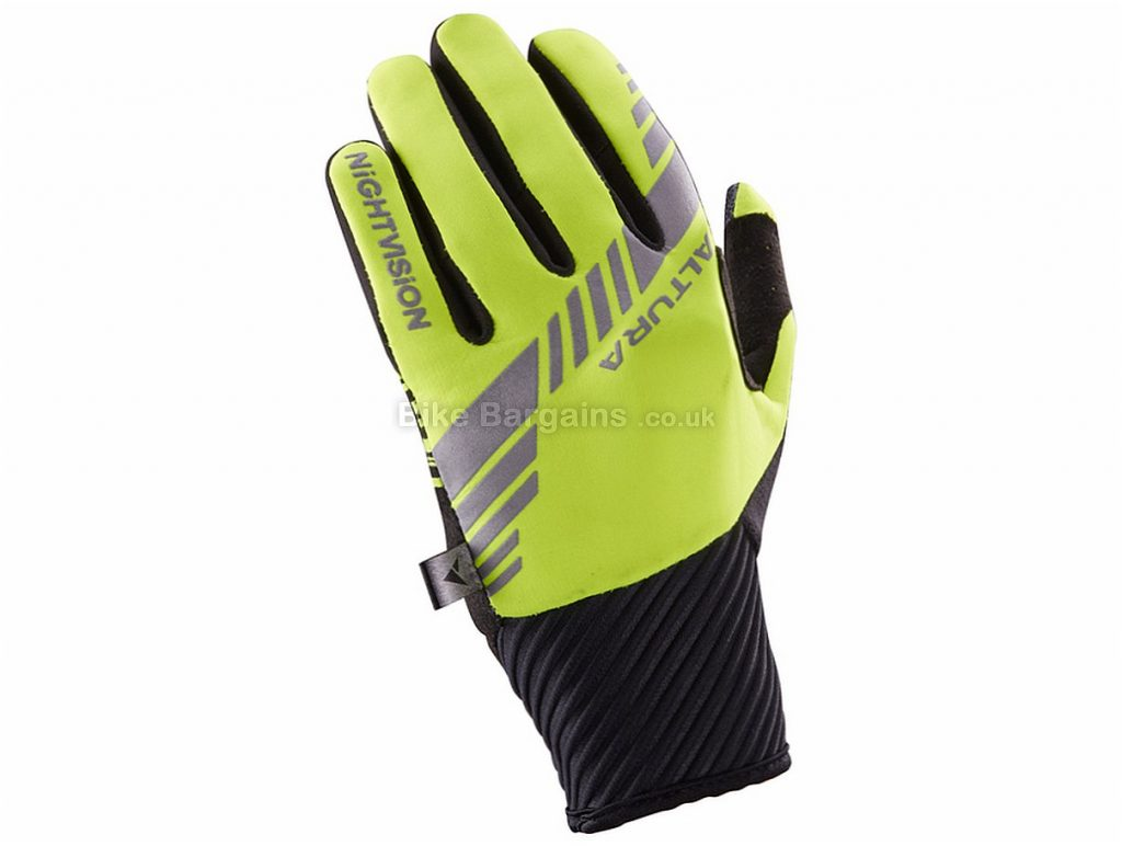 Altura Ladies Night Vision 3 Windproof Full Finger Gloves S,L, Black, Yellow, Full Finger