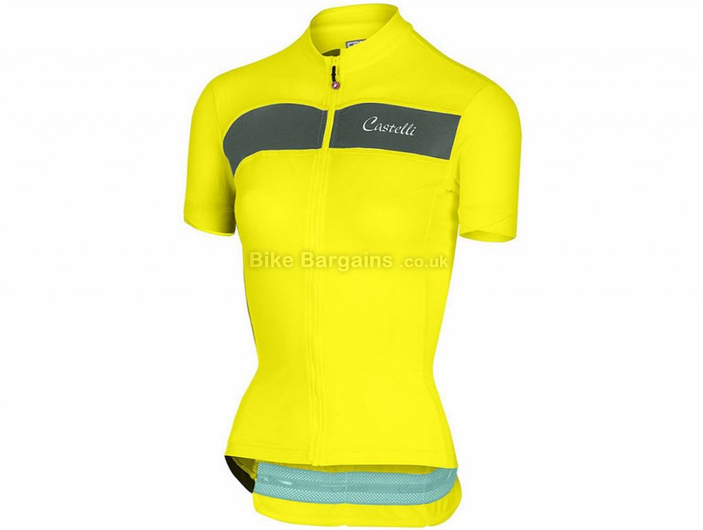 Castelli Scheggia FZ Short Sleeve Jersey XS,L, White, Black, Yellow, Short Sleeve, 117g