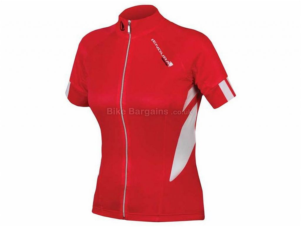 Endura Ladies FS260-Pro Jetstream Short Sleeve Jersey XS, Red, White, Short Sleeve