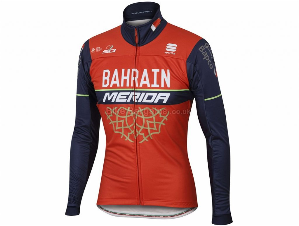 Sportful Bahrain-Merida BodyFit Jacket 2017 M, Red, Blue, Long Sleeve