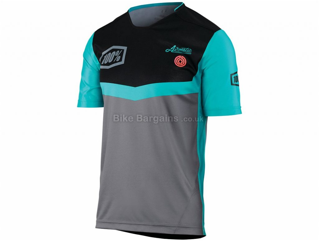 100% Airmatic Fast Times Short Sleeve Jersey XL, Turquoise, Grey, Black