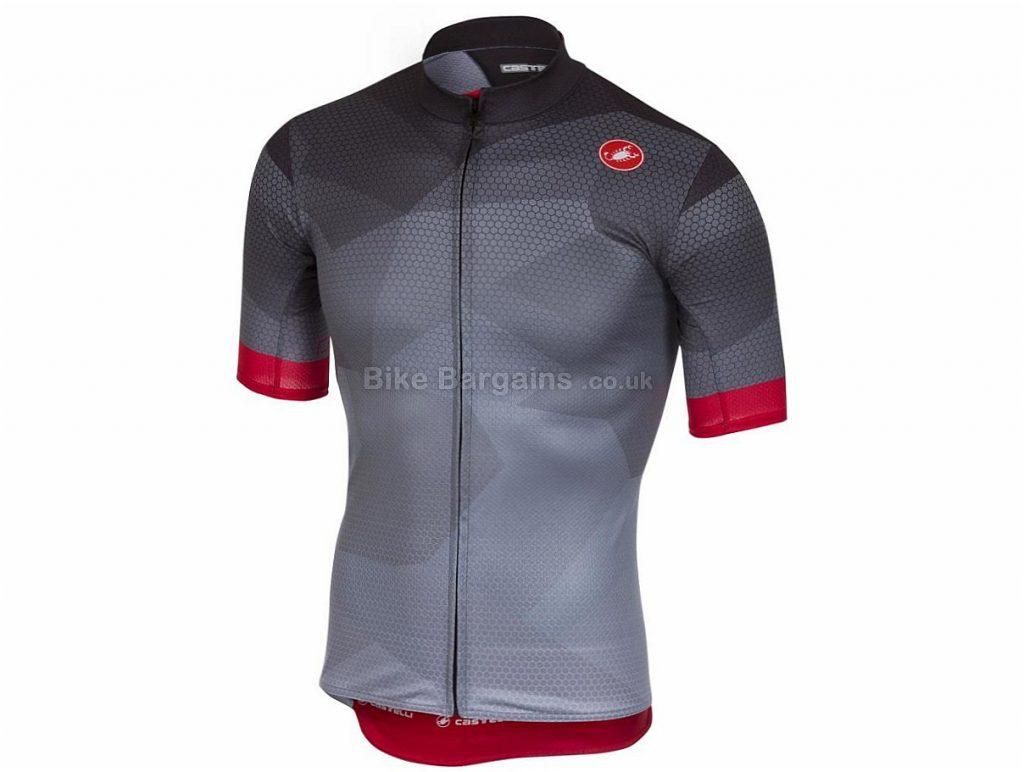 Castelli Flusso FZ Short Sleeve Jersey 2018 S, Grey, Short Sleeve, 143g