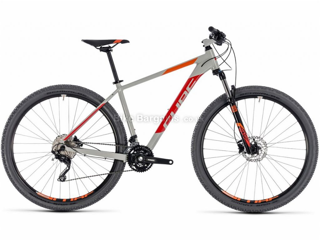 "Cube Attention 27.5"" Deore Alloy Hardtail Mountain Bike 2018 16"", Grey, Red, Alloy, 27.5"", 30 Speed, 13.7kg"
