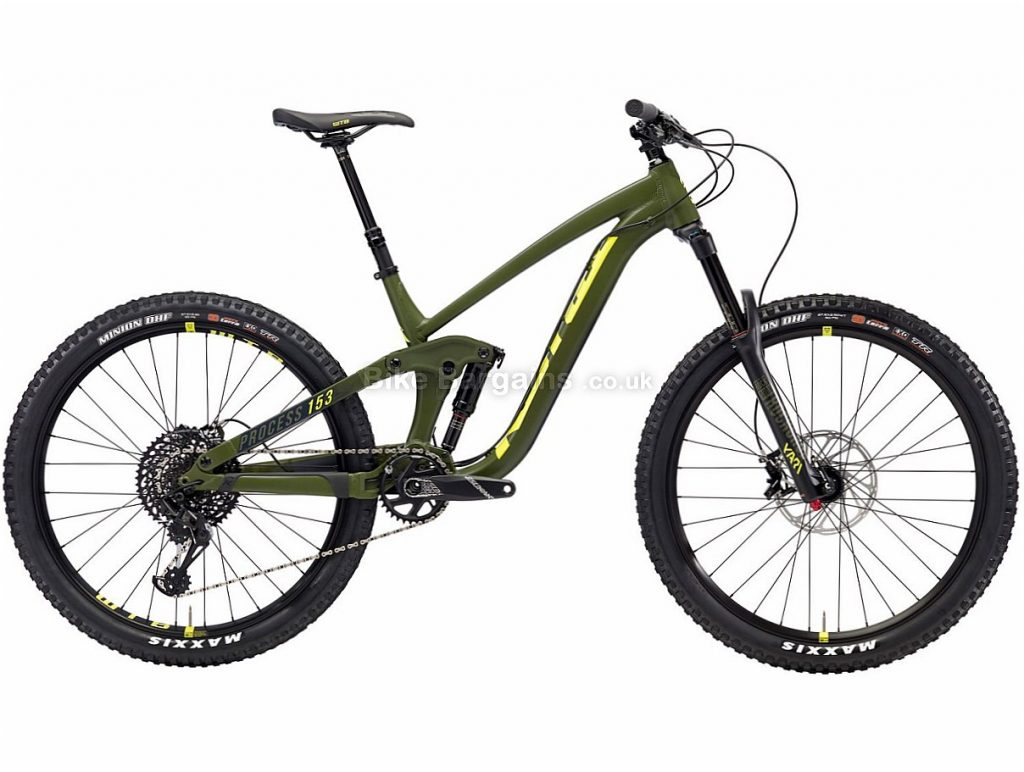 "Kona Process 153 AL/DL 27.5"" GX Eagle Alloy Full Suspension Mountain Bike 2018 L, Green, Alloy, 27.5"", 12 Speed"