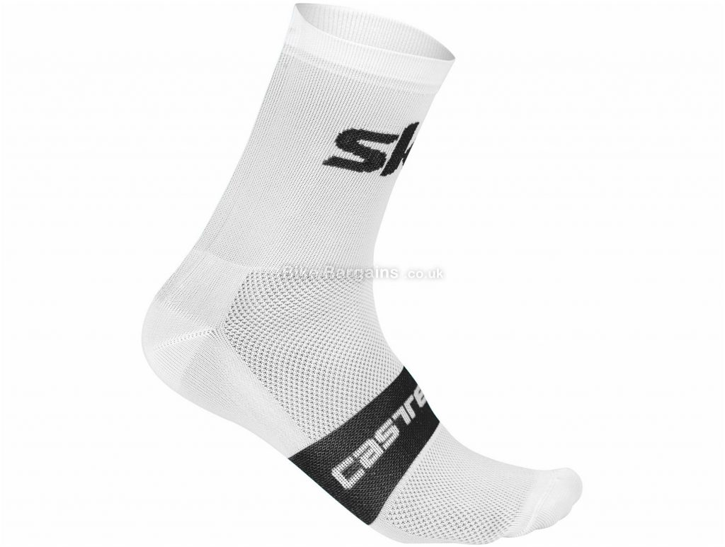 Castelli Team Sky TDF Free 12 Socks XXL, White, Black