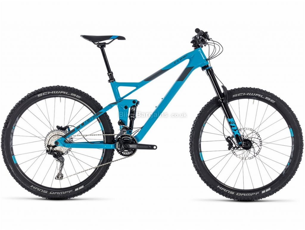 "Cube Stereo 140 HPC Race 27.5"" Carbon Full Suspension Mountain Bike 2018 22"", Blue, Grey, Carbon, 27.5"", 13.6kg, 22 Speed, 150mm, 140mm"