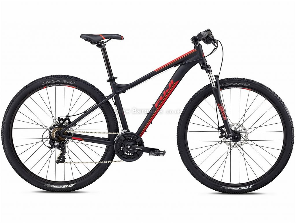 "Fuji Nevada 29"" 1.9 Alloy Hardtail Mountain Bike 2018 17"", Black, White, Alloy, 29"", 14.29kg, 21 Speed, 75mm"
