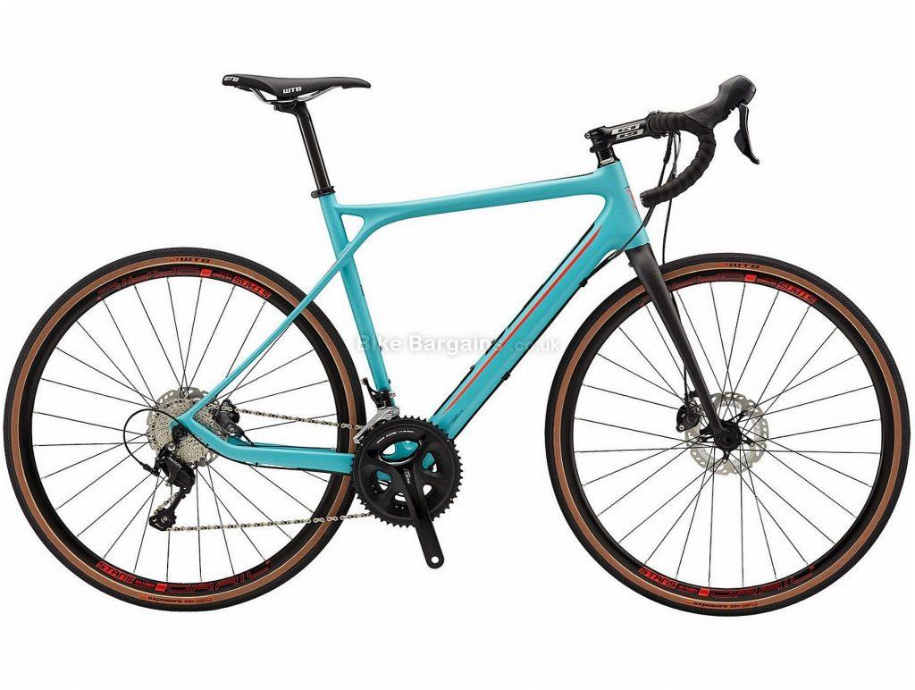 GT Grade Carbon Expert Adventure Disc Carbon Road Bike 2018 55cm, Turquoise, Carbon, 700c, 22 Speed, Disc