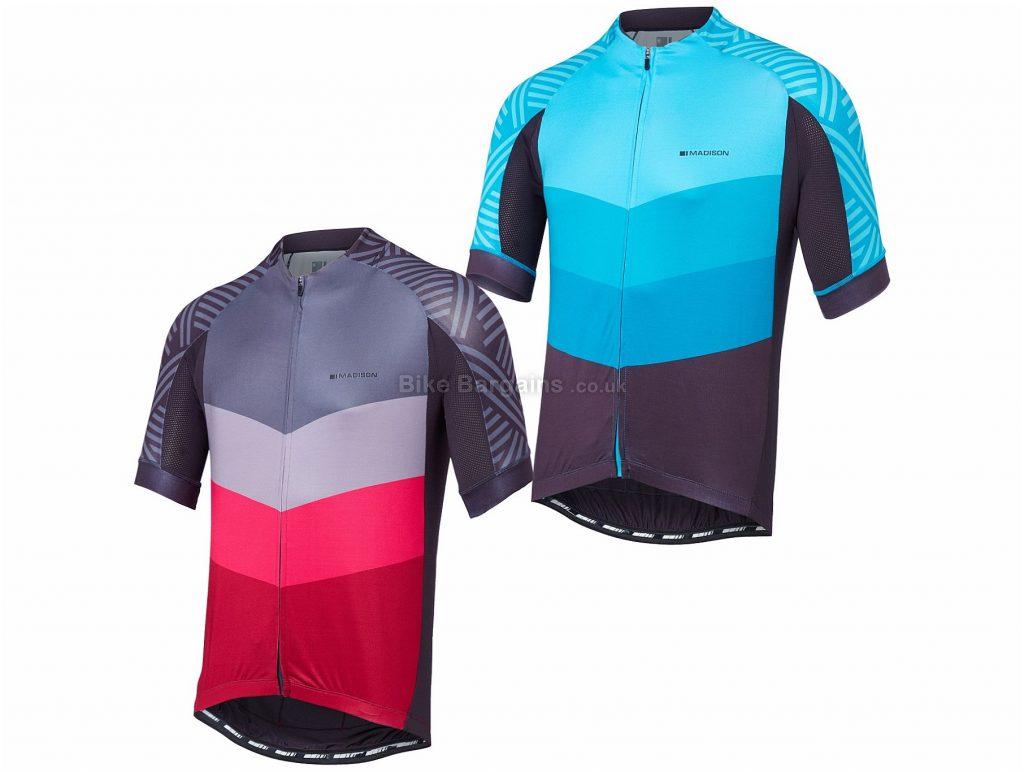 Madison Sportive Chevron Short Sleeve Jersey 2018 XXL, Blue, Grey, Red, Short Sleeve