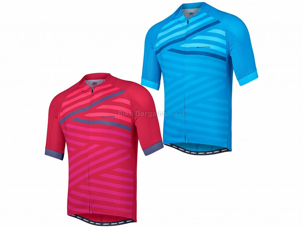 Madison Sportive Geo Stripes Short Sleeve Jersey 2018 L, Pink, Short Sleeve