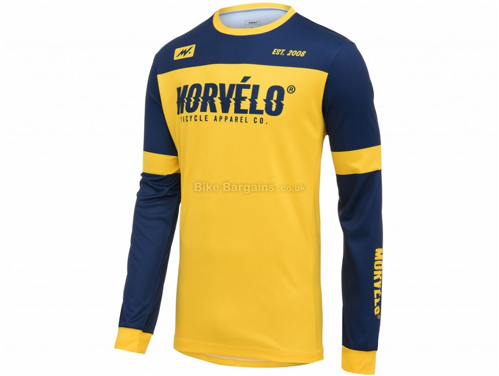 Morvelo McQueen MTB Long Sleeve Jersey XS,S, Yellow, Blue, Long Sleeve