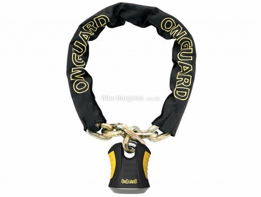OnGuard Beast Chain Lock with Padlock 110cm, 12mm, Black, Yellow, Steel
