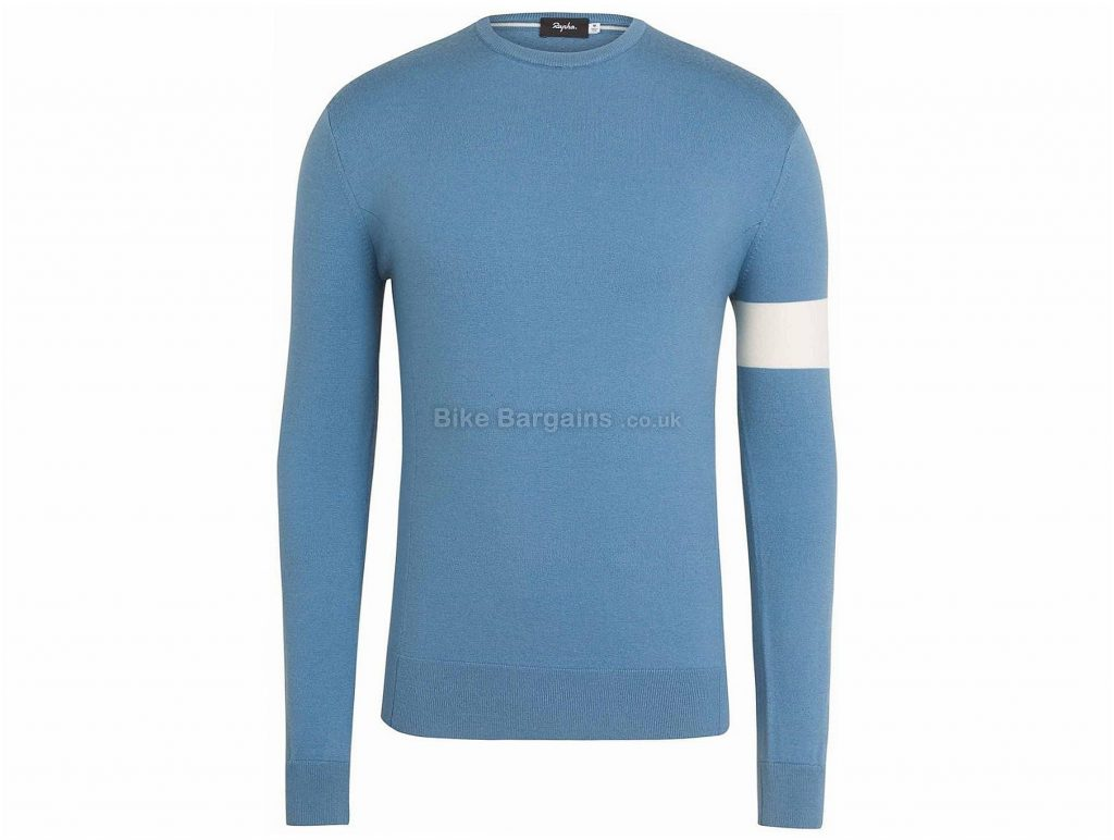 Rapha Crew Neck Long Sleeve Knit 2017 XXL, Grey, Blue