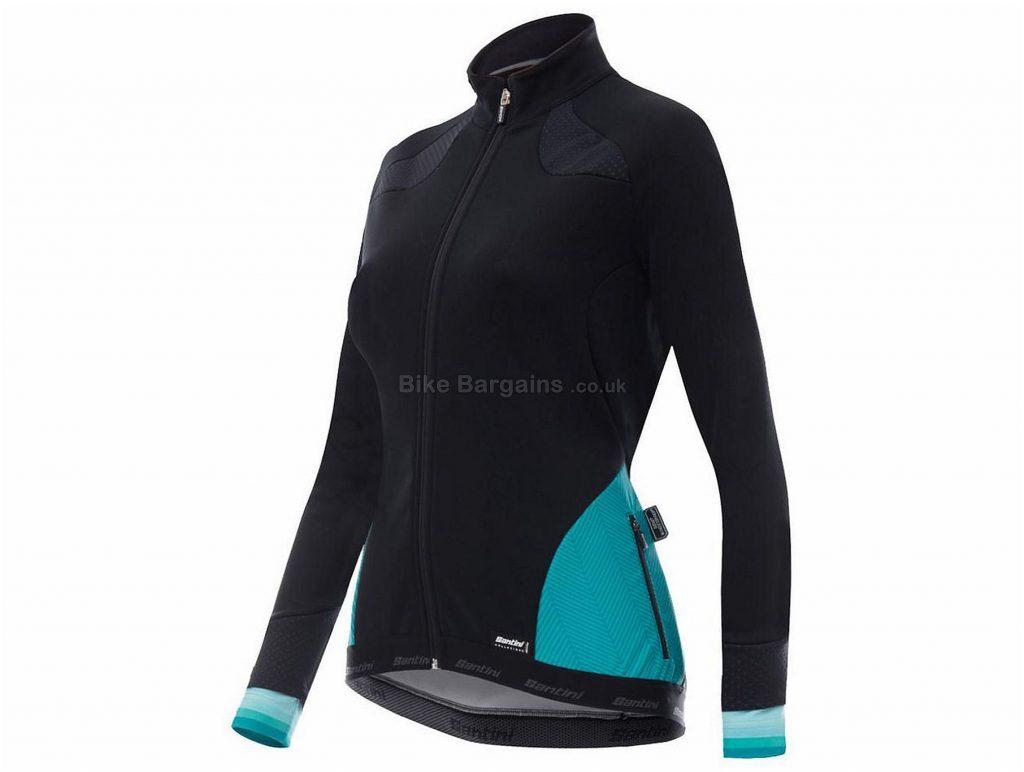 Santini Ladies Coral 2 WS Winter Jacket 2018 L, Black, Blue, Long Sleeve