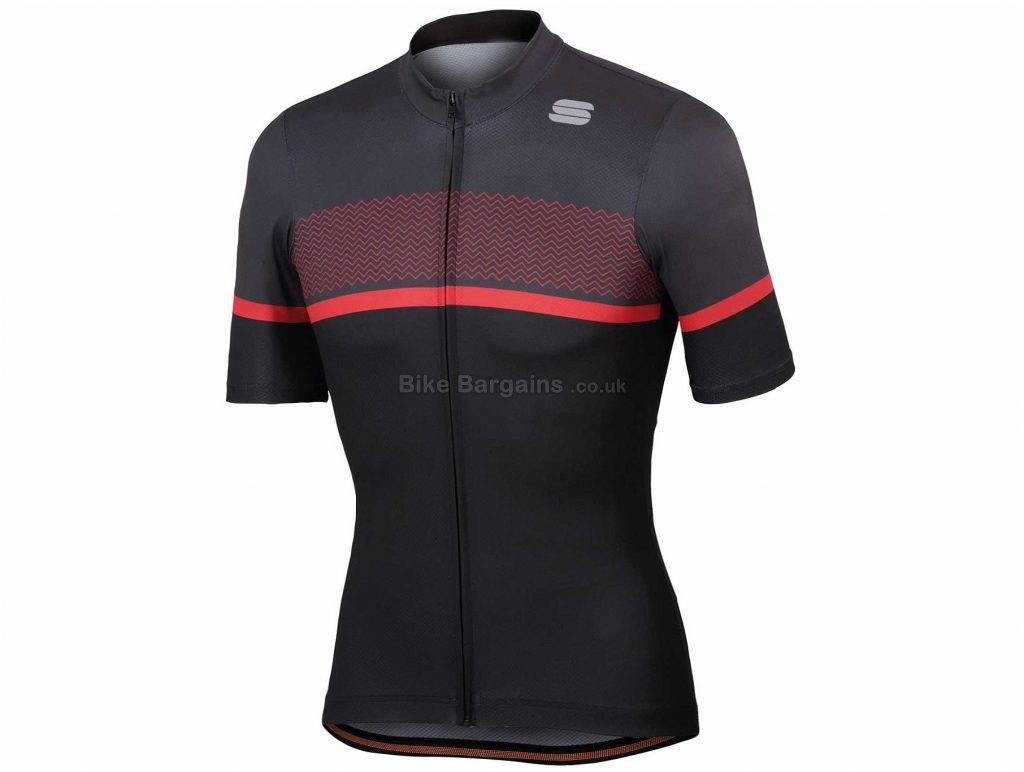 Sportful Frequence Short Sleeve Jersey XL, Black, Red, Short Sleeve
