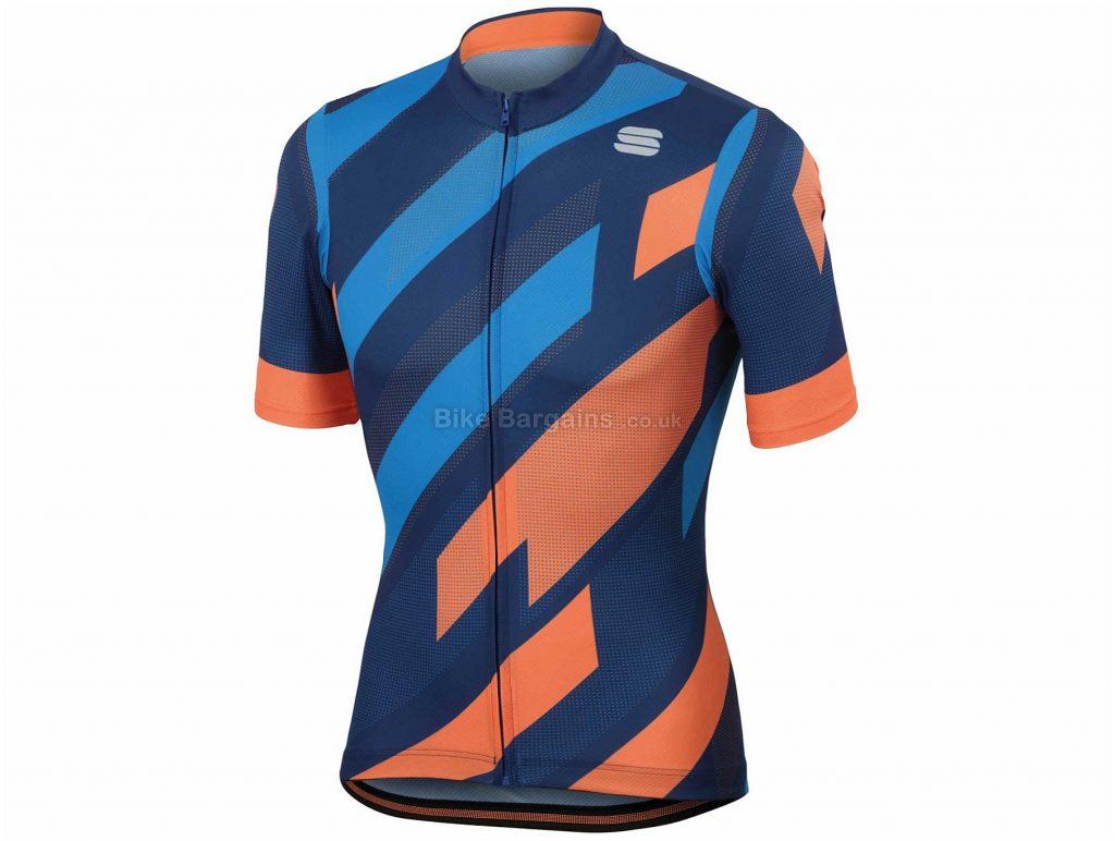 Sportful Volt Short Sleeve Jersey L,XL, Blue, Orange, Short Sleeve