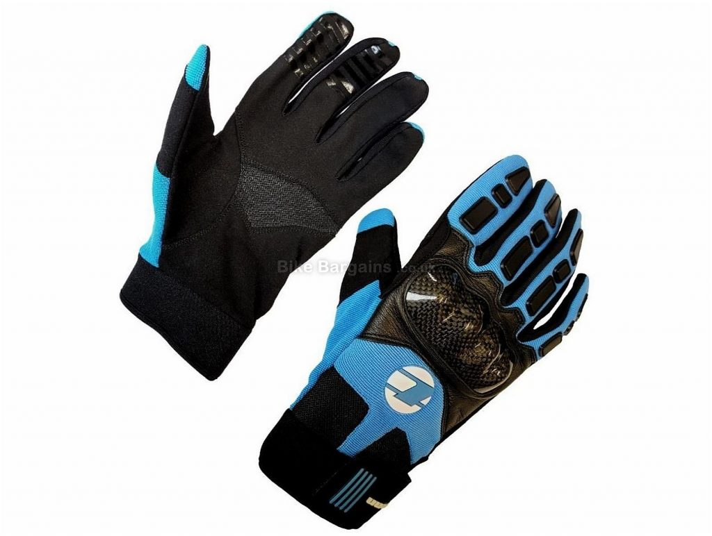 Tenn Knuckle Leather Carbon Full Finger MTB Gloves S, Blue, Black, Full Finger