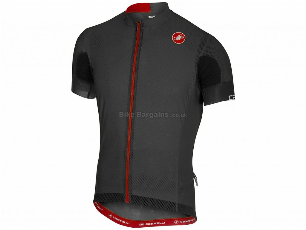 Castelli AR 4.1 Solid Short Sleeve Jersey 2018 XL, Grey, Red, Short Sleeve