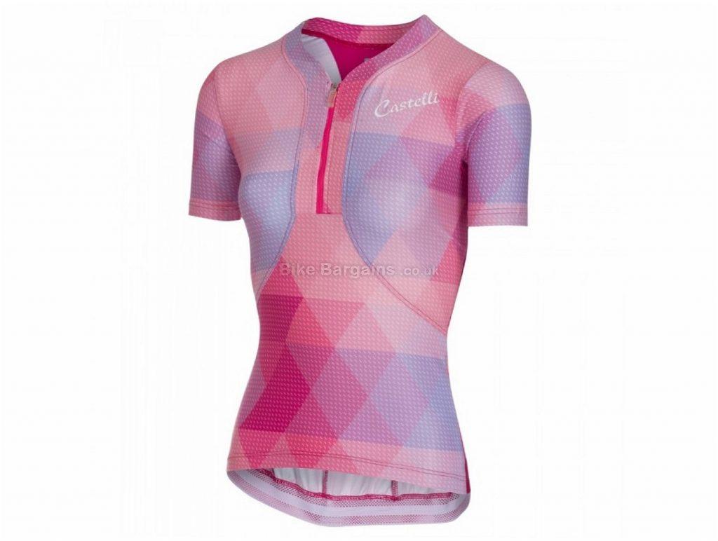 Castelli Alba Ladies Short Sleeve Jersey XS, Pink, Short Sleeve, 127g