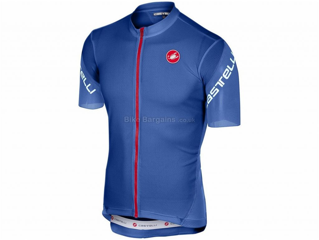 Castelli Entrata 3 FZ Short Sleeve Jersey 2018 M, Blue, Yellow, Orange, Short Sleeve, 149g