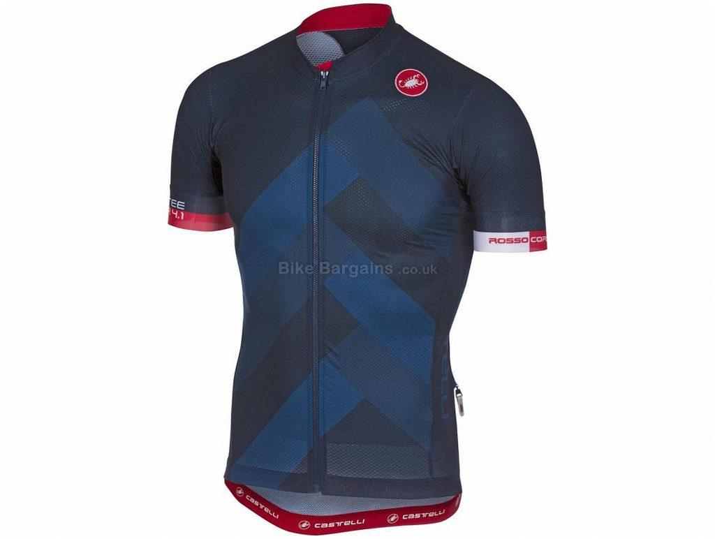 Castelli Free AR 4.1 FZ Short Sleeve Jersey 2018 L, Blue, Grey, Red, Short Sleeve, 123g
