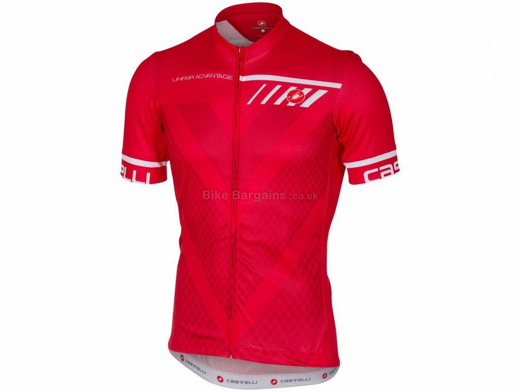 Castelli Velocissimo FZ Short Sleeve Jersey M, Red, Short Sleeve, 158g