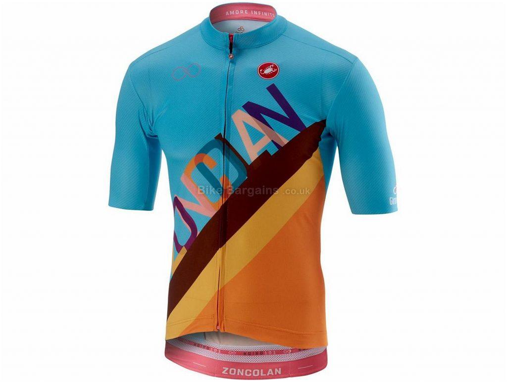 Castelli Zoncolan Short Sleeve FZ Jersey L, Blue, Orange, Short Sleeve, 103g