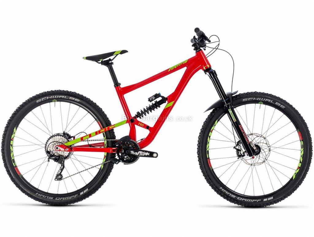 "Cube Hanzz 190 Race 27.5 Alloy Full Suspension Mountain Bike 2018 18"", Red, 27.5"", Alloy, 10 Speed, 15.4kg"