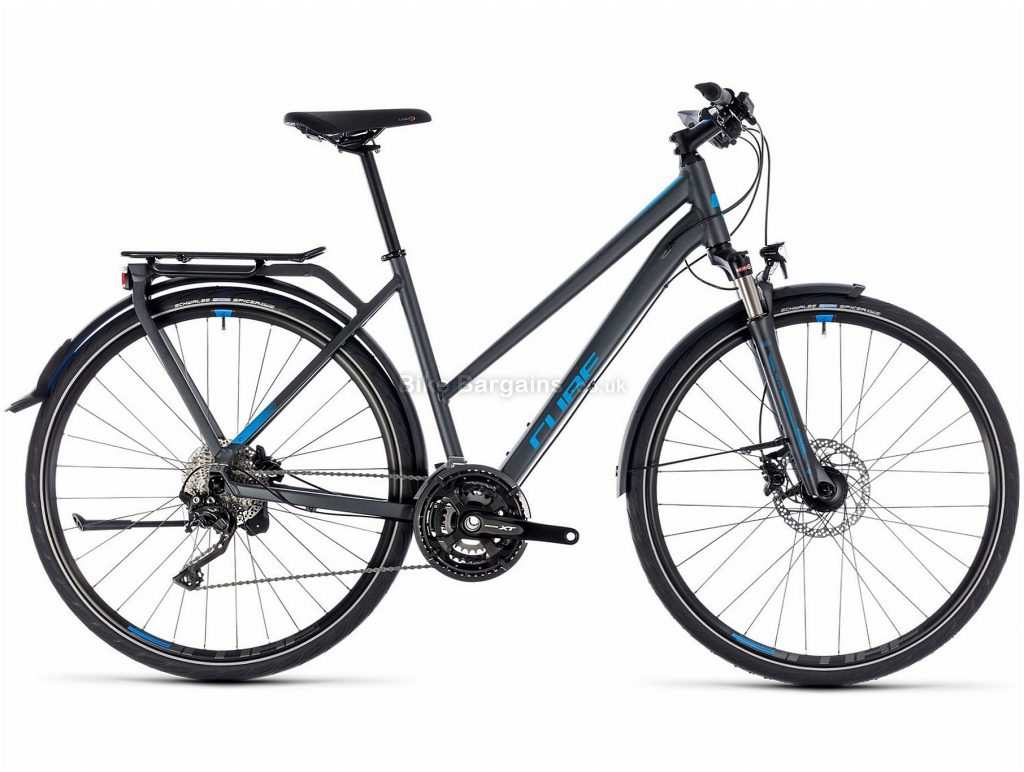 Cube Kathmandu ECX Trapeze Ladies Alloy Urban City Bike 2018 50cm, Blue, Grey, Alloy, 700c, 30 Speed, Disc, Hardtail