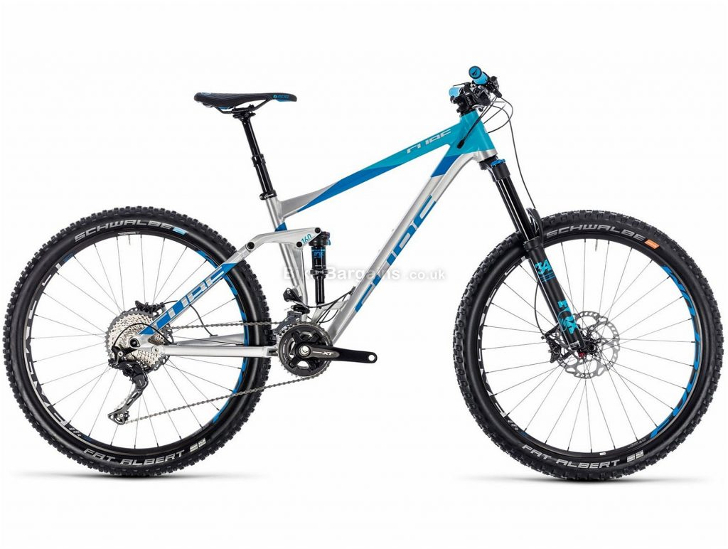 "Cube Stereo 160 SL 27.5 Alloy Full Suspension Mountain Bike 2018 18"", Silver, Blue, 27.5"", Alloy, 22 Speed, 13.5kg"